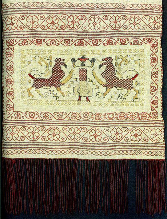 """Maiden"" with two lions (or panthers) on towel edge. <br/>First half of   19th century"