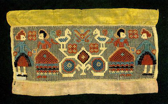 Genre and fairy-tale motifs (transformation of solar symbols) on towel edge. <br/>Second half of   19th century