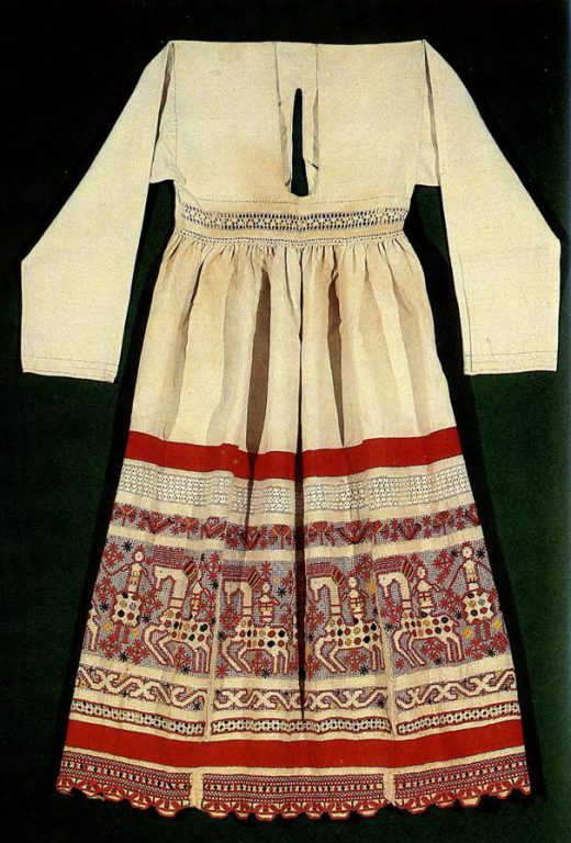 "Tula apron with ""mothers"", female riders, solar signs and plant motifs. <br/>Late 19th or early 20th century"