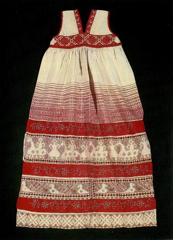 "Kaluga apron with ""mothers"", female riders, solar signs and plant motifs. <br/>Second half of   19th century"