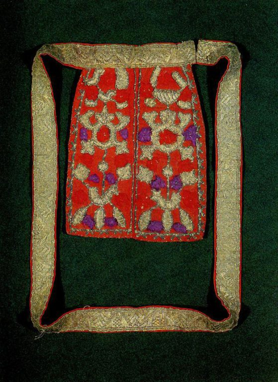 "Vologda girdle with pouch embroidered with stylized ""sun chariots'. <br/>Late 19th century"
