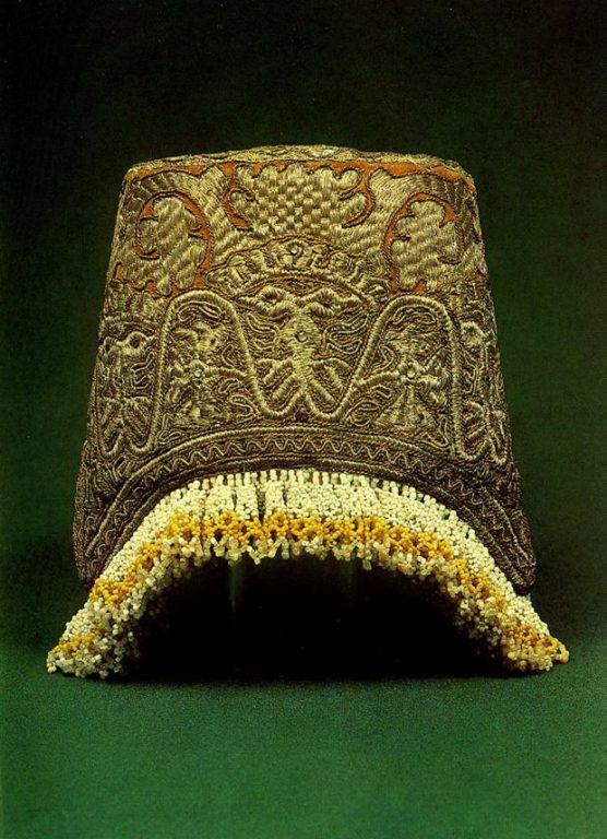 Tver women's headdress with solar and plant symbols. <br/>Late 18th or early 19th century
