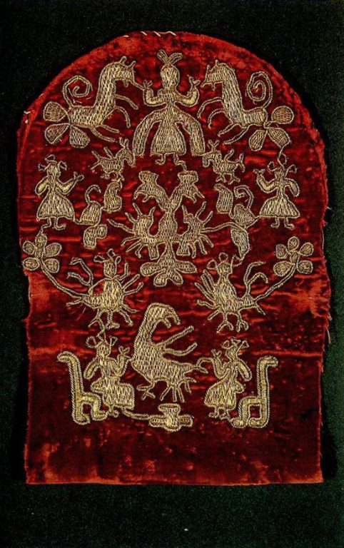 Women's headdress with the Tree of Life and fairy-tale motifs of solar origin. Late 18th or early 19th century