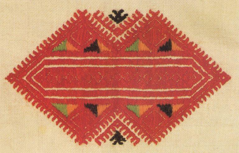 Фрагмент нарукавной вышивки женской рубахи. <br/>Конец 19 века