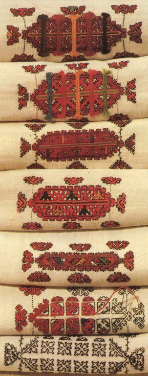 Заготовки нарукавной вышивки для женских рубах. <br/>Конец 19 века