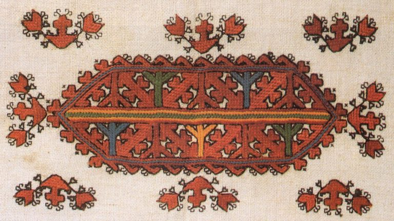 Embroidery on the shoulder-piece of a woman's smock. Detail