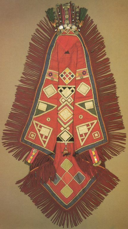 Red syulik, kerchief for the head. <br/>Early of 20th century