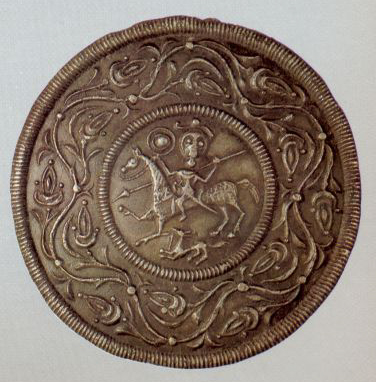 Lid with the image of a horse rider . 15h century