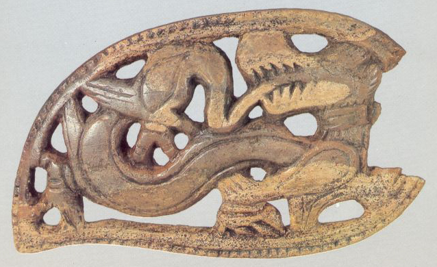 Plaque with an image of dragon. <br/>13h century