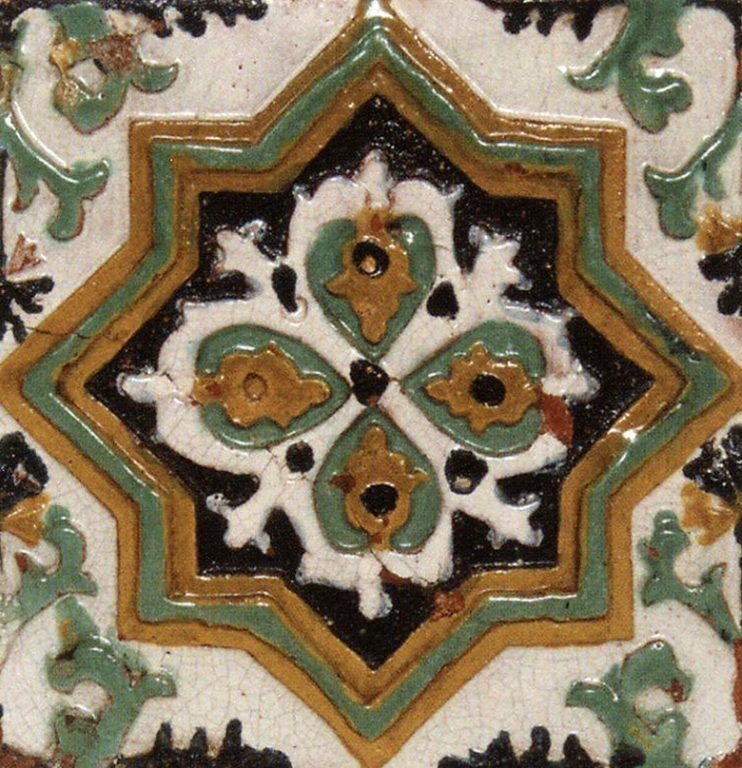 Изразец рельефный полихромный стенной (лицевой). <br/>1669 год