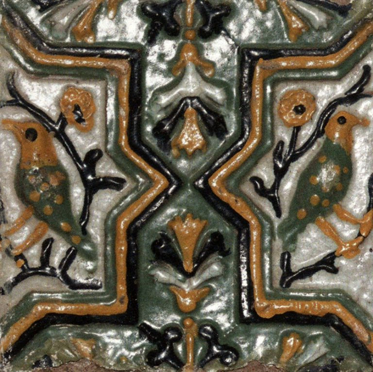 Relief polychrome wall tiles (front). <br/>1669 year