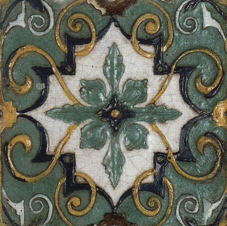 Relief polychrome wall tiles (front). <br/>Late 1680-ies years