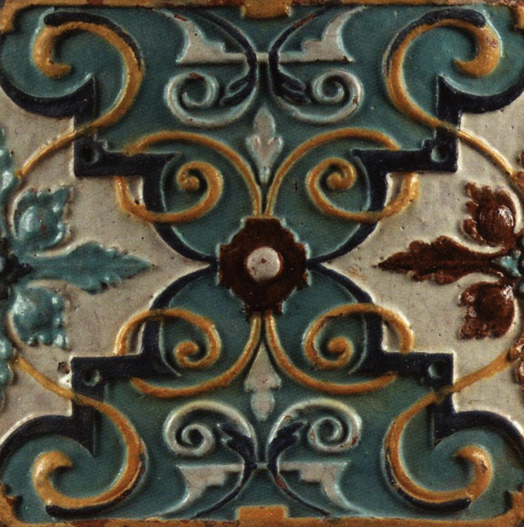 Relief polychrome wall tiles (front). Late 1680-ies years