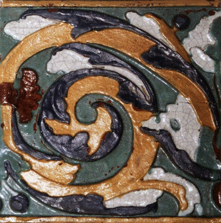 Relief polychrome wall tiles (front). 1701 year
