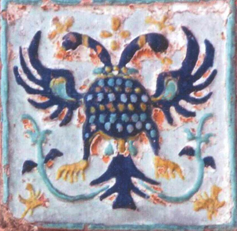 Tile with a double-headed eagle, part of Church of Nikola Mokryi exterior decorations in Yaroslavl . <br/>17th century