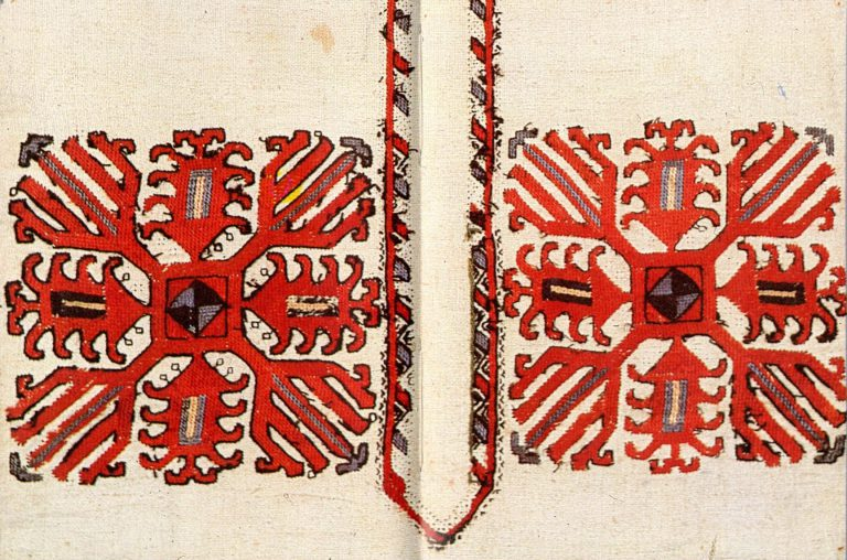 Sample of the lower Chuvash pectoral embroidery (кéскé). <br/>19th century
