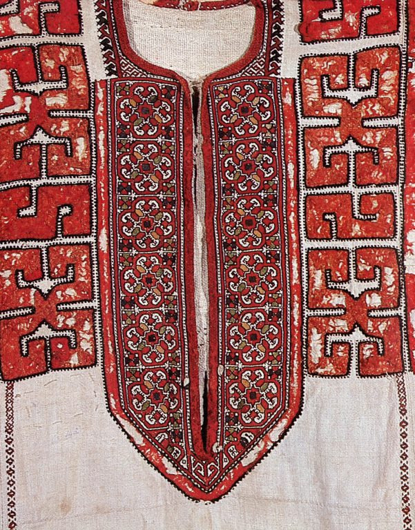 The Lower Chuvash women's shirt. Fragment. <br/>18th century