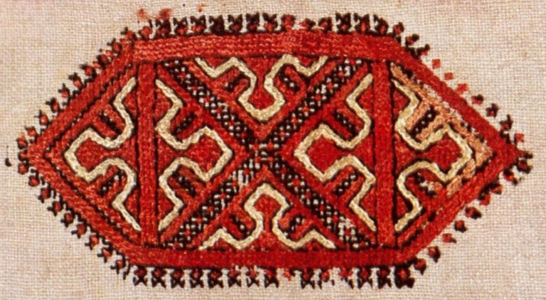Shoulder embroidery of a shirt of the lower Chuvash  . <br/>18th century