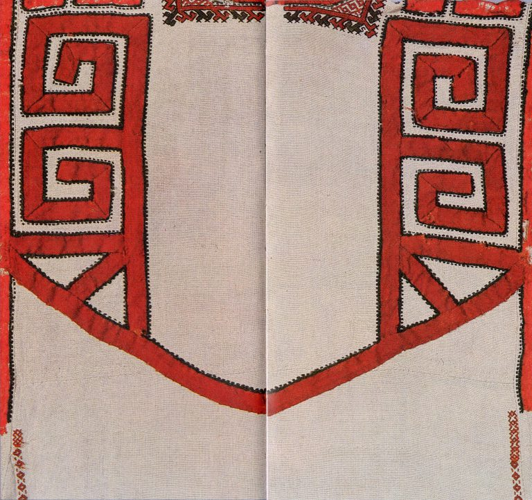 Women's shirt of the lower Chuvash. Back side fragment. <br/>18th century