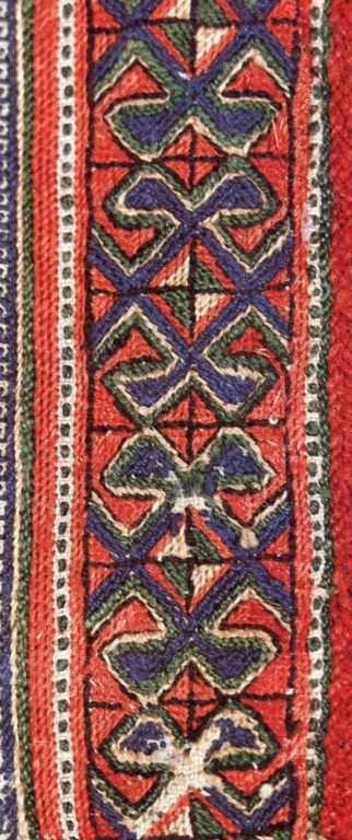 Women's shirt band embroidery of the lower Chuvash. Fragment. <br/>18th century