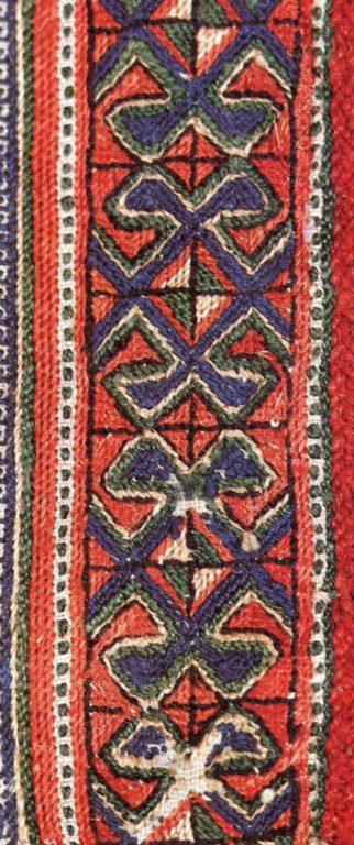 Вышивка разреза ворота женской рубашки низовых чувашей. Фрагмент. <br/>18 век