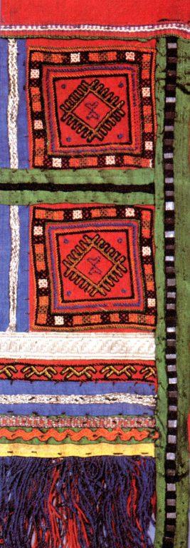 Женское набедренное украшение яркӑч верховых чувашей. Фрагмент. <br/>19 век