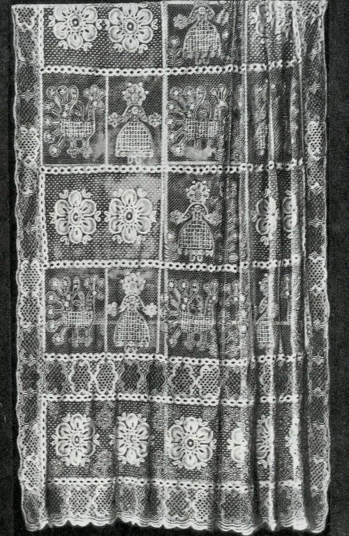 Vologda lace. Lace valance. Fragment . <br/>19th century