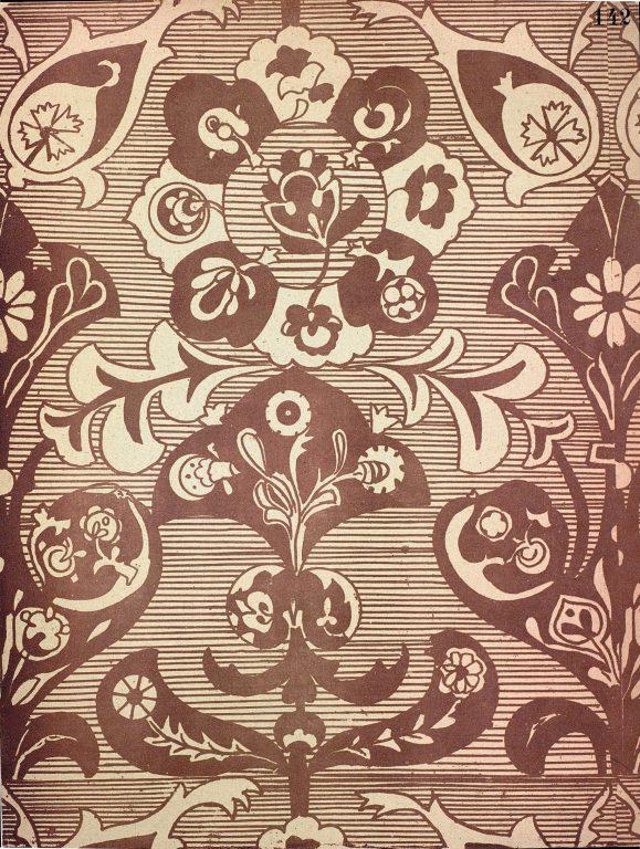Образец узора рукописи, ткани или стенописи из сборника С. Н. Писарева. <br/>17 век