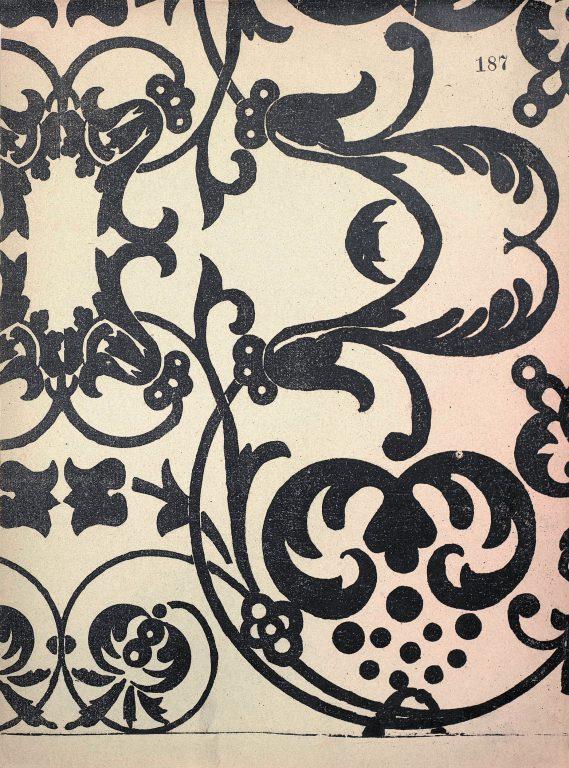 Образец узора рукописи, ткани или стенописи из сборника С.Н. Писарева. 17 век