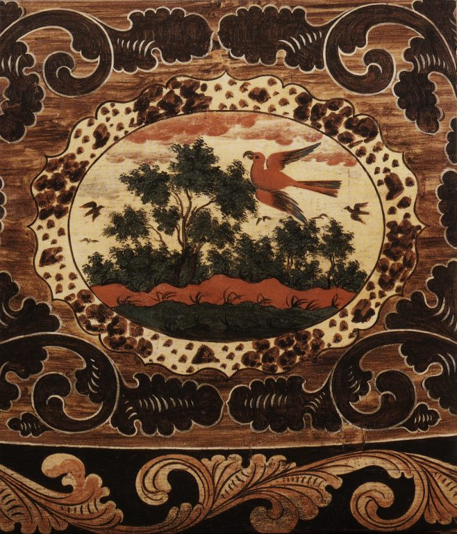 Table of wood with painted decoration. Detail. Early 18th century