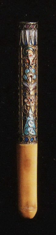 Selection of silver-gilt object with enamel and filigree decoration: A cigarette holder. <br/>1880th