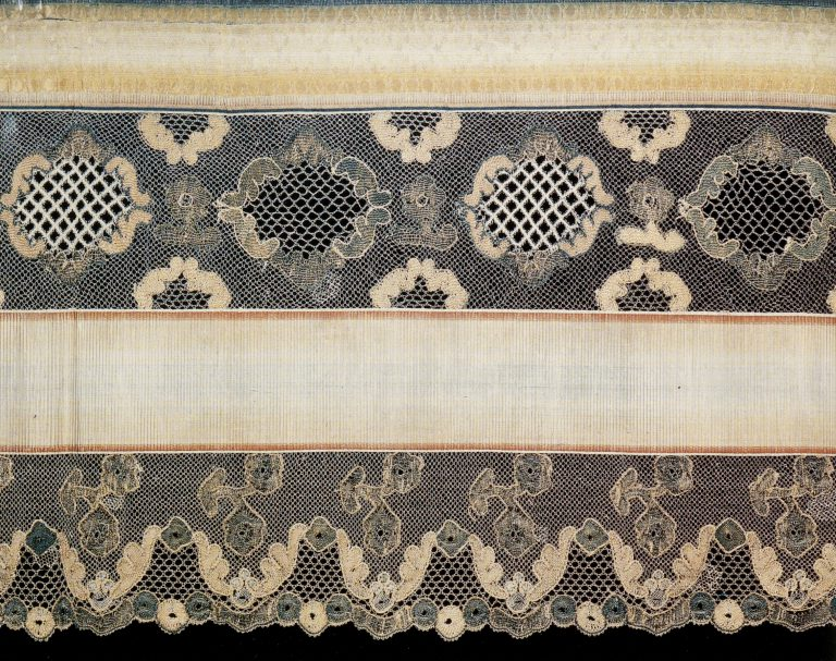 Podzor (lace valance). Fragment of multicoloured thread lace . <br/>Late 18th - early 19th century