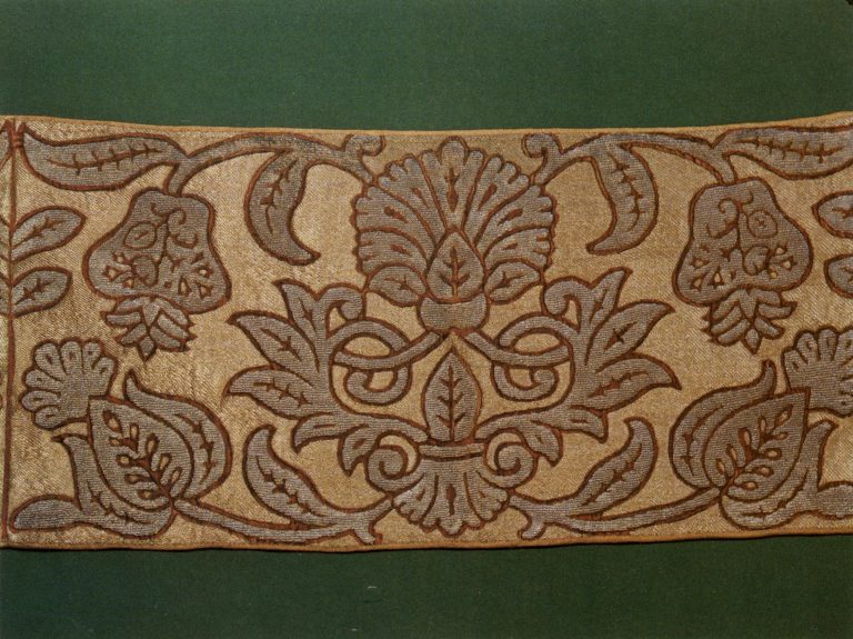Gold embroidery sample. <br/>Second half of 17th century