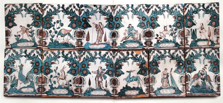 Декоративное панно изразцовой печи. <br/>Вторая половина 18 века