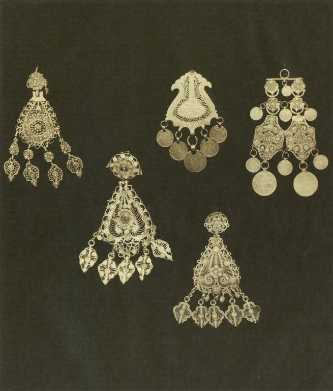 Earrings and chulpy (braid decoration accessories). <br/>Second half of 18th century - first half of 19th century