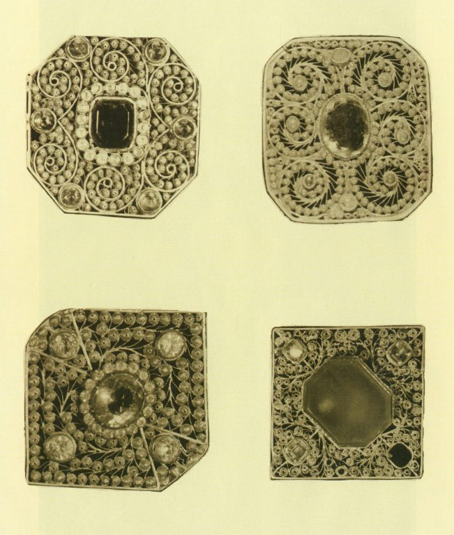 Metal plates for hasite (cross-belt) and izu (chestplate). <br/>First half of 19th century
