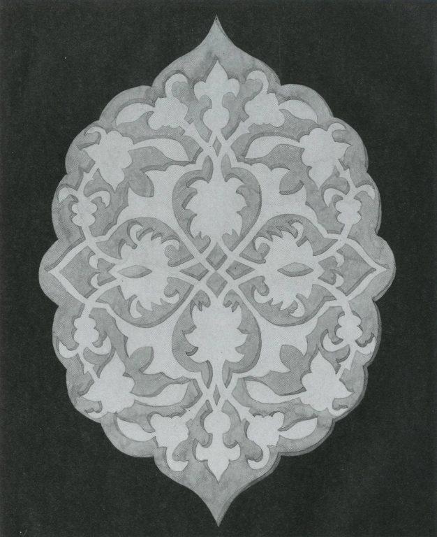 Flower ornament in a festoon rosette. Gravestone back side. <br/>16th century