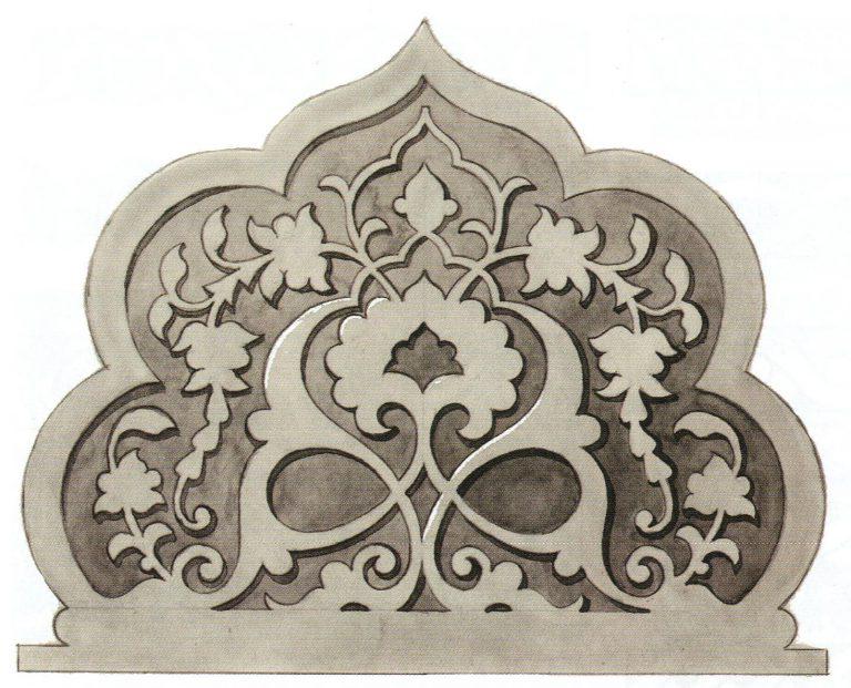 Образец узорной композиции в завершении надгробной стелы. <br/>Первая половина 16 века