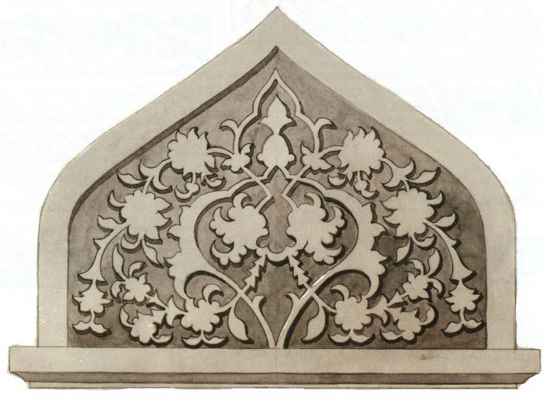 Decoration sample of the gravestone upper part. <br/>First half of 16th century