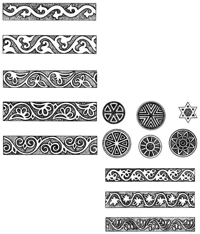 Узоры бордюров и завершений в виде солярных мотивов на надгробиях. <br/>16 век - первая половина 19 века