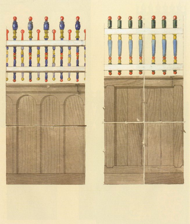 Decoration samples of fences with carved balusters. <br/>Late 19th century - early 20th century