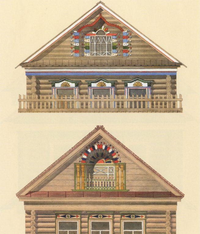 Образцы оформления фасадов татарских  домов. <br/>Середина 20 века