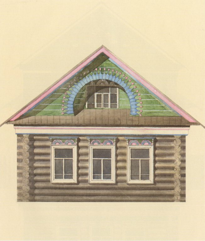 Sample facade design of a Tatar house. Second half of 19th century