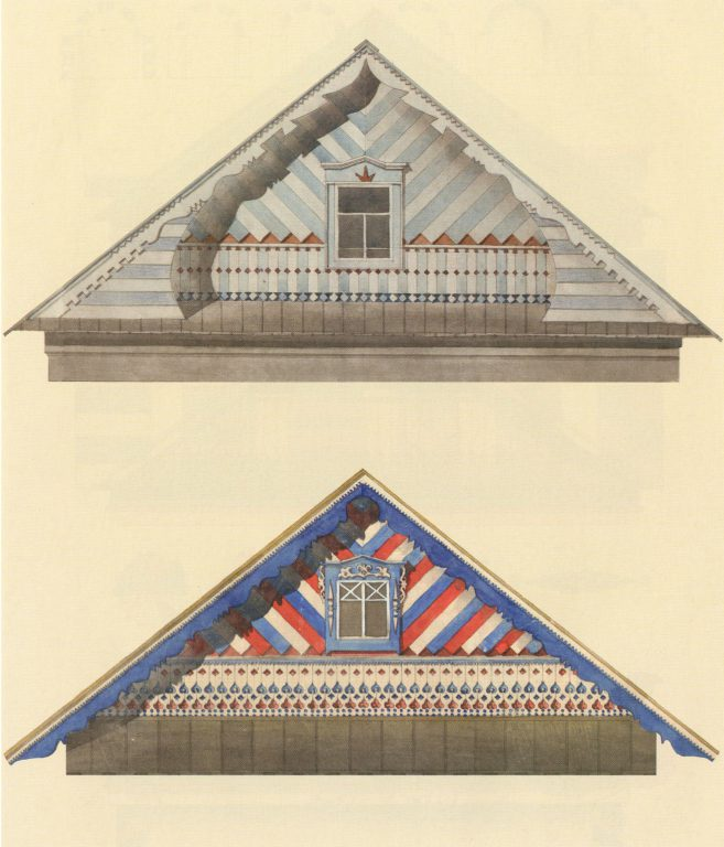 Sample gable design of a Tatar house. Middle and second half of 20th century