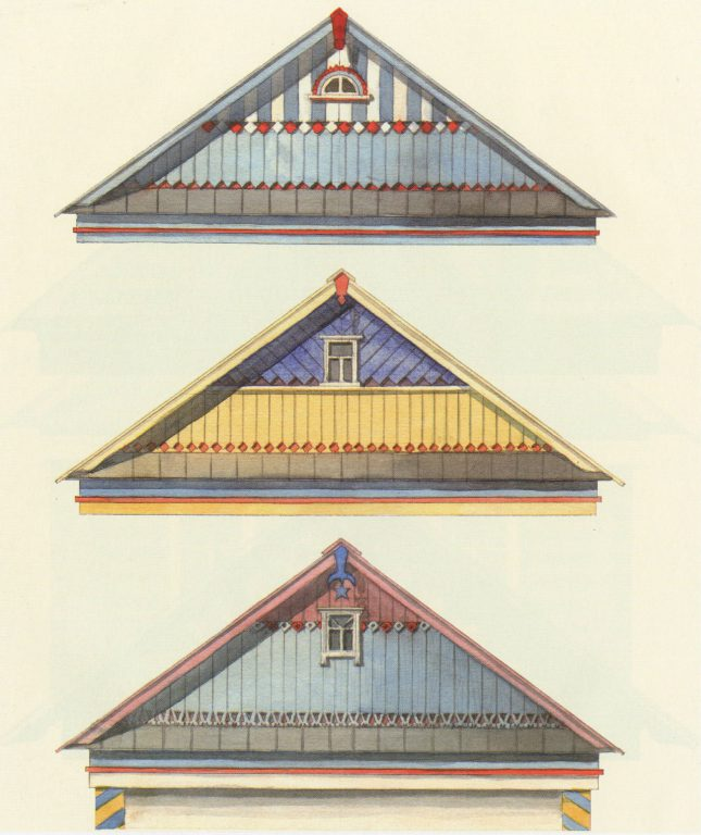 Sample gable designs. <br/>Second half of 20th century