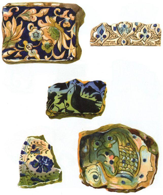 Glazed tiles. Fragments. <br/>13th century - 14th century