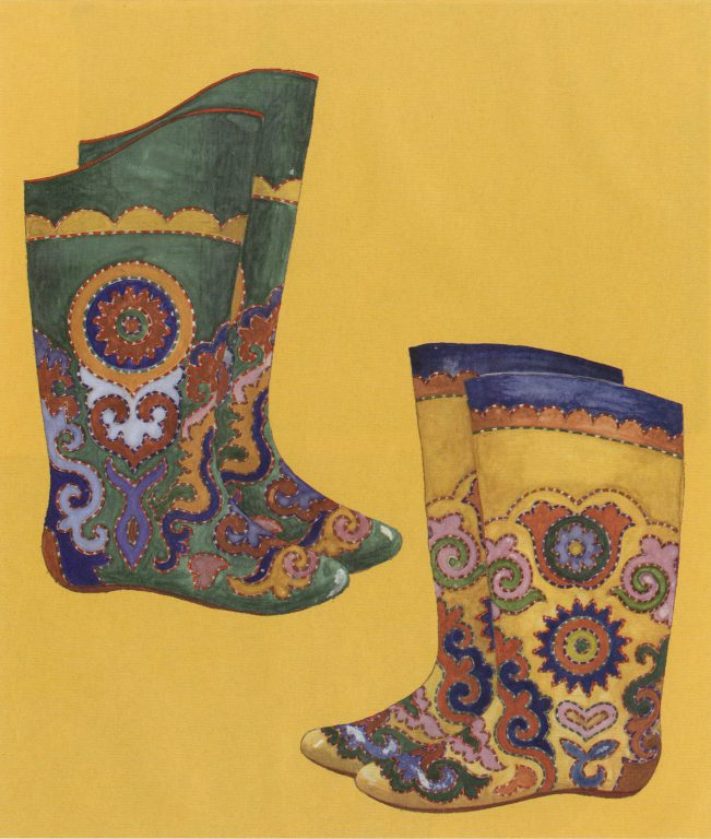 Embroidered ichigi (boots of soft leather). Second half of 19th century
