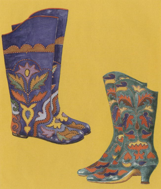 Embroidered ichigi (boots of soft leather). Late 19th century