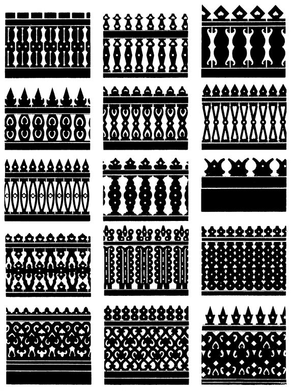 Samples of carved fences. <br/>First half of 20th century