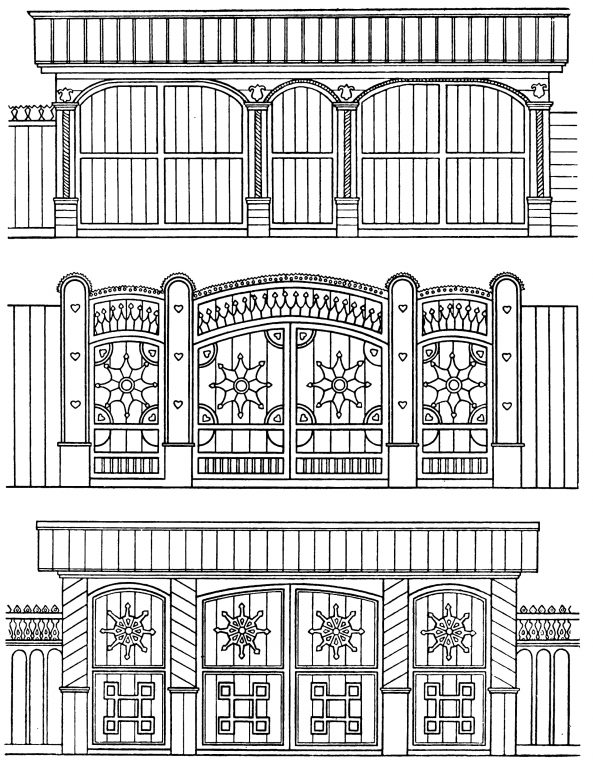 Samples of gates carved decorion elements. <br/>Second half of 19th century